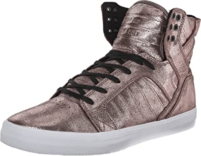 0596ad422a2f Supra Men Rose Gold-Toned Shimmery High-Top Leather Sneakers (9 UK ...