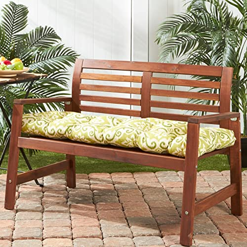Cocoa Beach 18-inch X 51-inch Green Ikat Outdoor Bench Cushion White Traditional Transitional Polyester Fade Resistant Uv Water