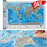 """SPECIAL OFFER! Scratch off World Poster -10%. Premium Quality. Large Size 24""""X35"""". US States + Canadian Provinces Outlined. Perfect Gift for Traveller. Deluxe Silver Map with Scratch off (Map in Tube)"""
