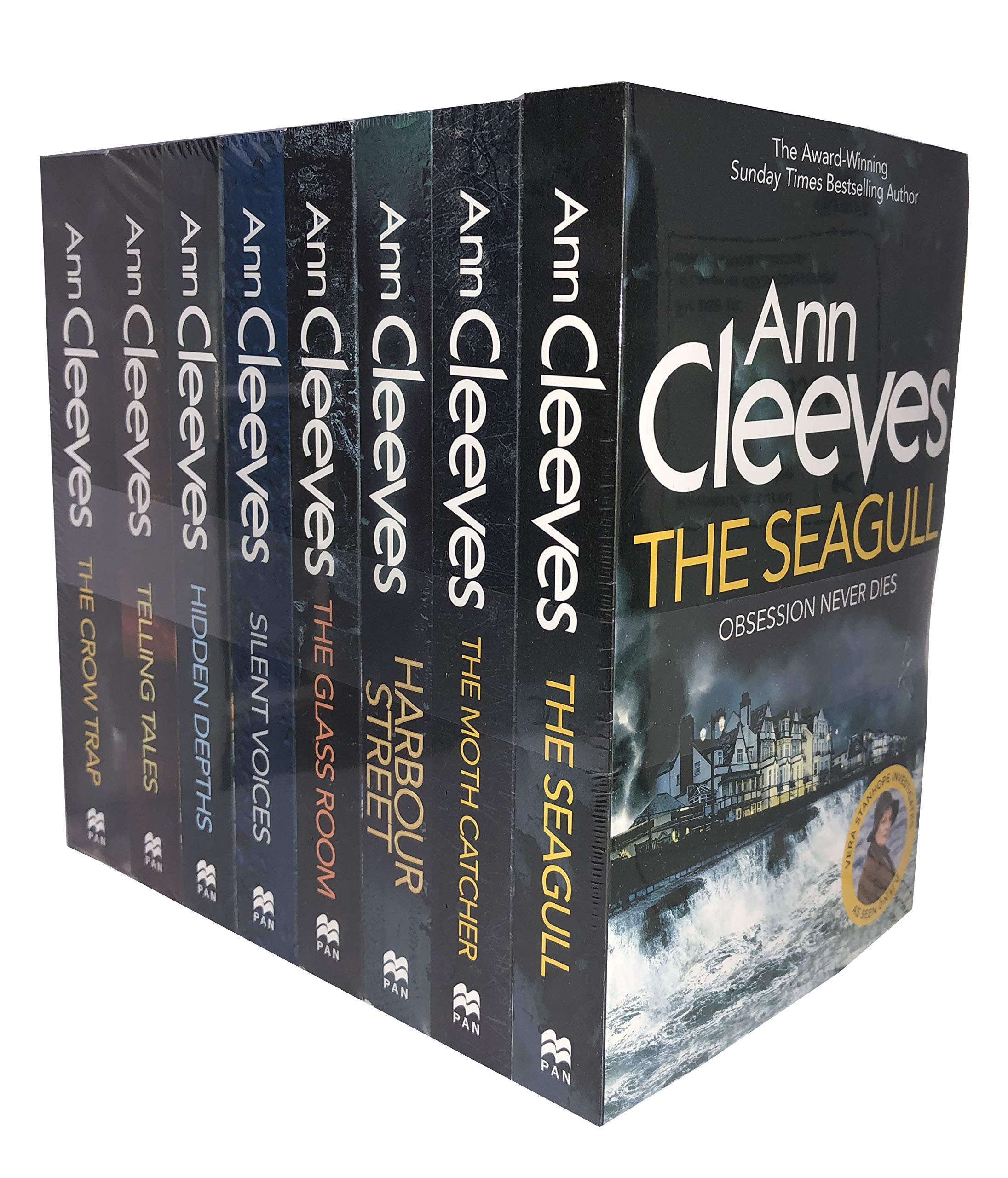 Ann Cleeves TV Vera Stanhope Series Collection 8 Books Set (Telling Tales, Harbour Street, Silent Voices, Hidden Depths, The Glass Room, The Seagull, The Moth Catcher) by Pan Macmillan