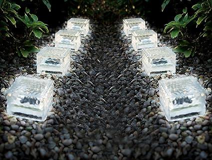8er Set Solarleuchten Ice Cubes Solar Gartenbeleuchtung Aus