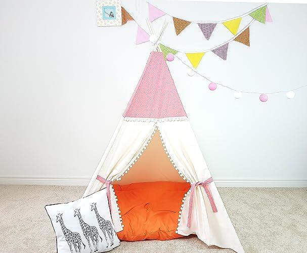 Amazon.com: Kids Teepee Pink Stars Ivory Pom Pom Tassels Pattern ...
