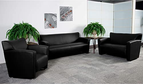 Flash Furniture HERCULES Majesty Series Reception Set in Black LeatherSoft