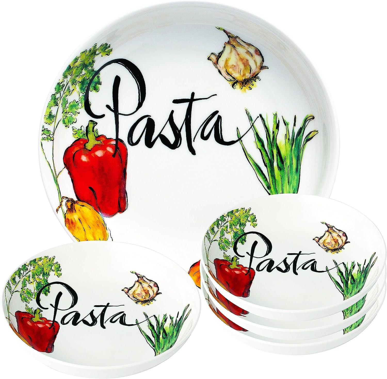 Lorren Home Trends 5 Piece Porcelain Pasta Set Vegetable Design, Multicolor