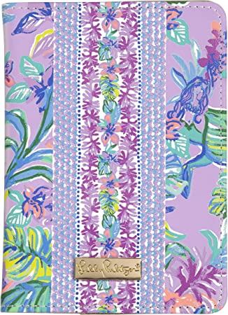 Amazon Com Lilly Pulitzer Purple Women S Leatherette Passport Cover Holder Wallet With Card Slots Mermaid In The Shade Passport Covers