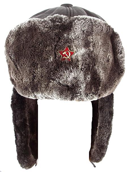 GFM Ushanka (Brown) exterior de piel sintética gorro ruso (M - talla ... 87e31c7189a