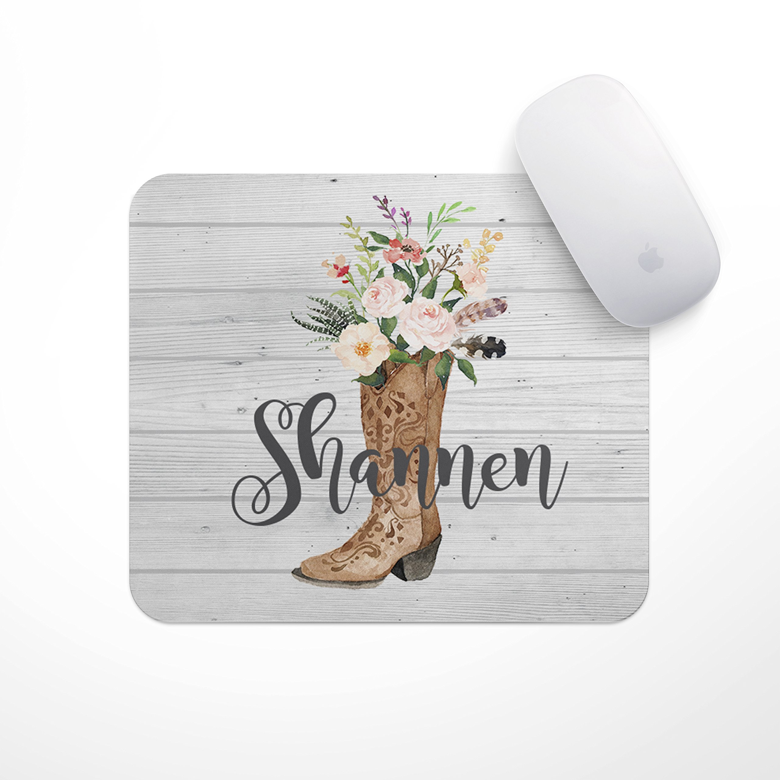 Personalized Mousepad - Custom Mouse Pads (Cowgirl Boot)- Neoprene Mouse Pad - Office Desk Decor - Gaming Mousepads by The Navy Knot