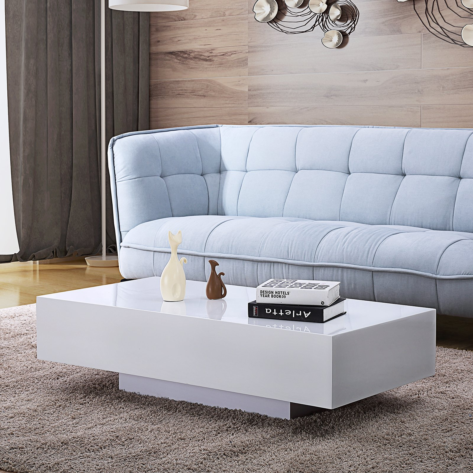 Mecor High Gloss White Rectangle Coffee Table, Modern Side/End/Sofa Table with 1 Layer, Living Room Home Office Furniture by mecor