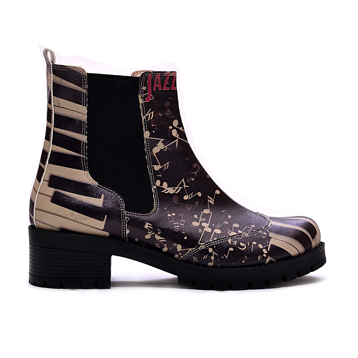 - GOBY Women's shoes Piano Keys Pattern Chelsea Boots LAS107