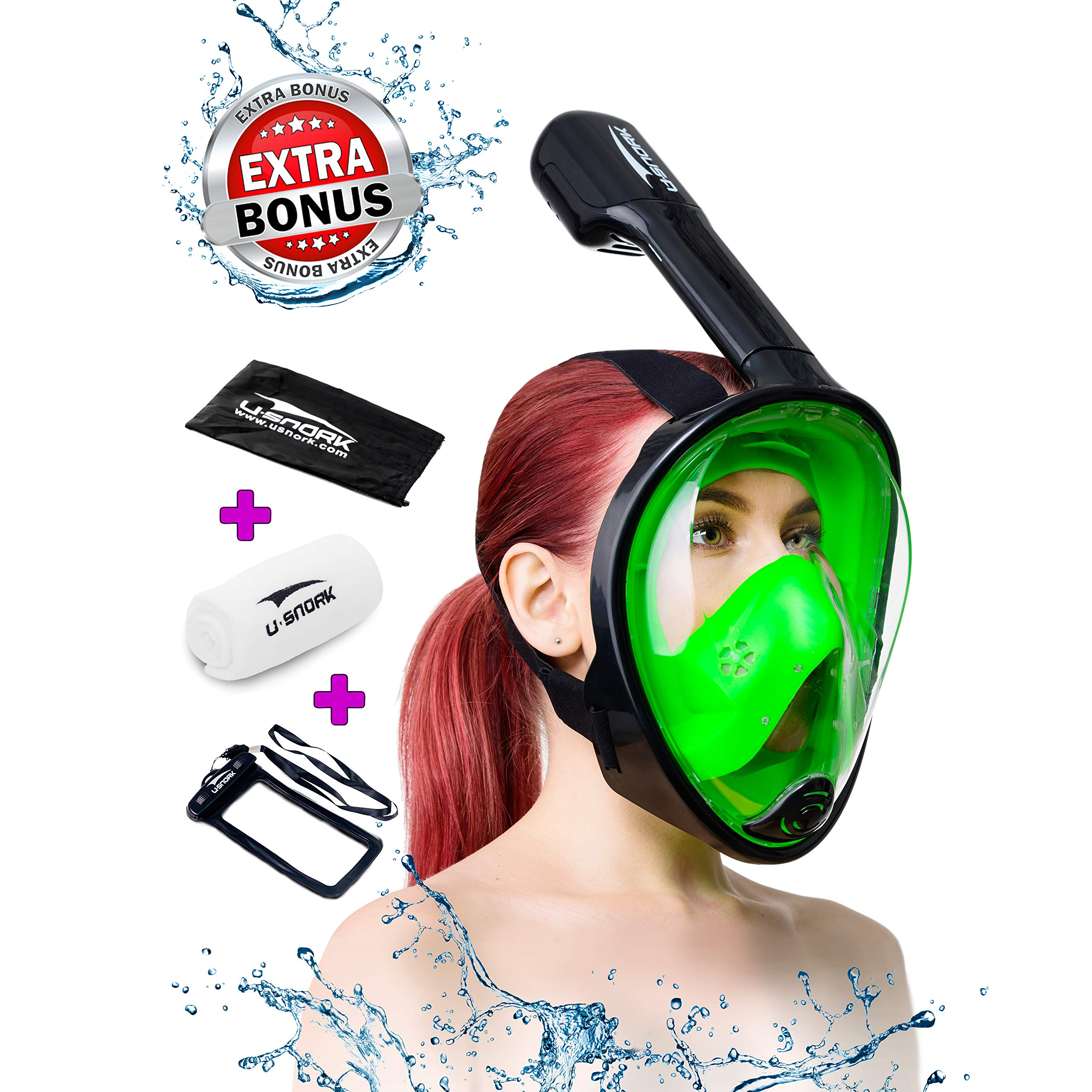 Usnork [2018 Upgrade Full Face Snorkel Mask for Kids and Adults, Easybreath Snorkeling Gear, Anti-Fog, Anti-Leak Snorkel Set, Scuba Mask with 180 View, 4 Gifts (Black - Green, L/XL)