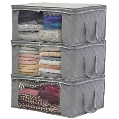 Sorbus Foldable Storage Bag Organizers, Large Clear Window & Carry Handles, Great for Clothes, Blankets, Closets, Bedrooms, and more