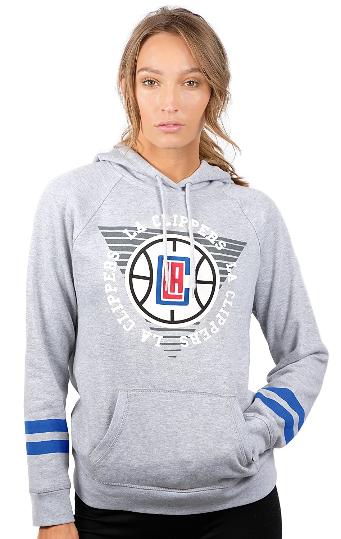 (Los Angeles Clippers, X-Large) - UNK NBA Women's Fleece Hoodie Pullover Sweatshirt Varsity Stripe, Grey   B076P58XLC