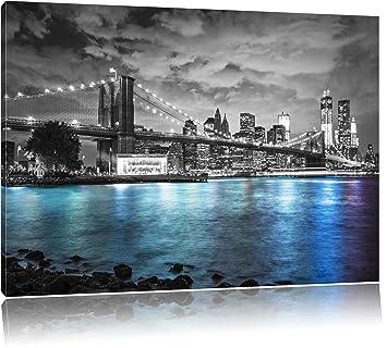 New York Skyline Am Abend Schwarz Weiß Format 60x40 Auf Leinwand Xxl Riesige Bilder Fertig Gerahmt Mit Keilrahmen Kunstdruck Auf Wandbild Mit