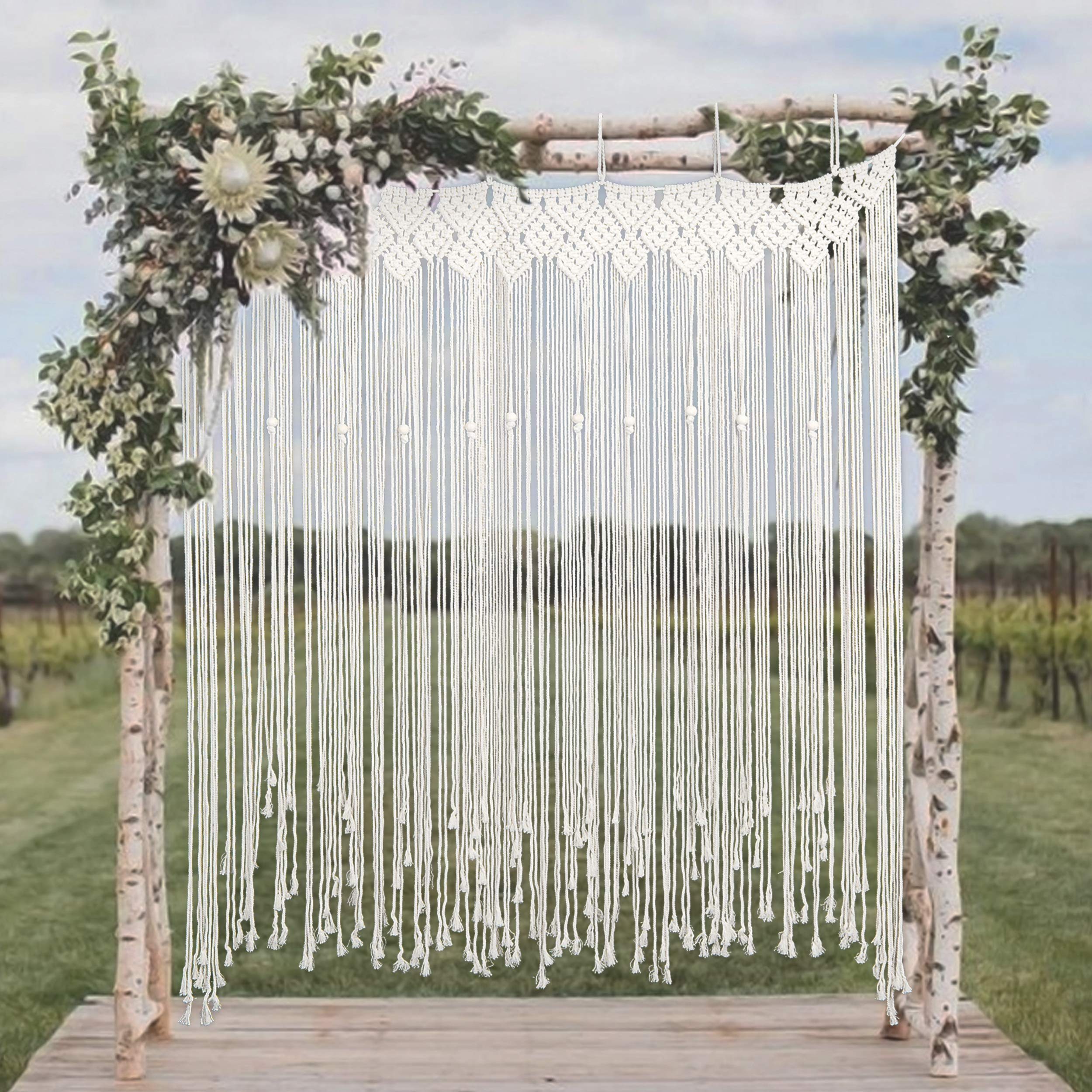 Willtos Large Macrame Backdrop - Boho Style Macrame Wedding Backdrop for Ceremony and Reception - 57'' W x 70'' L by Willtos