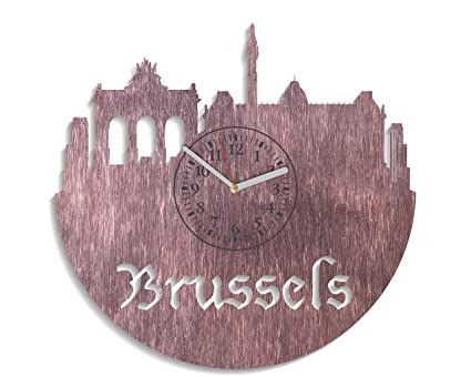 Brussels Wooden Wall Clock Modern Gift Idea For Adults Minimalist Decals