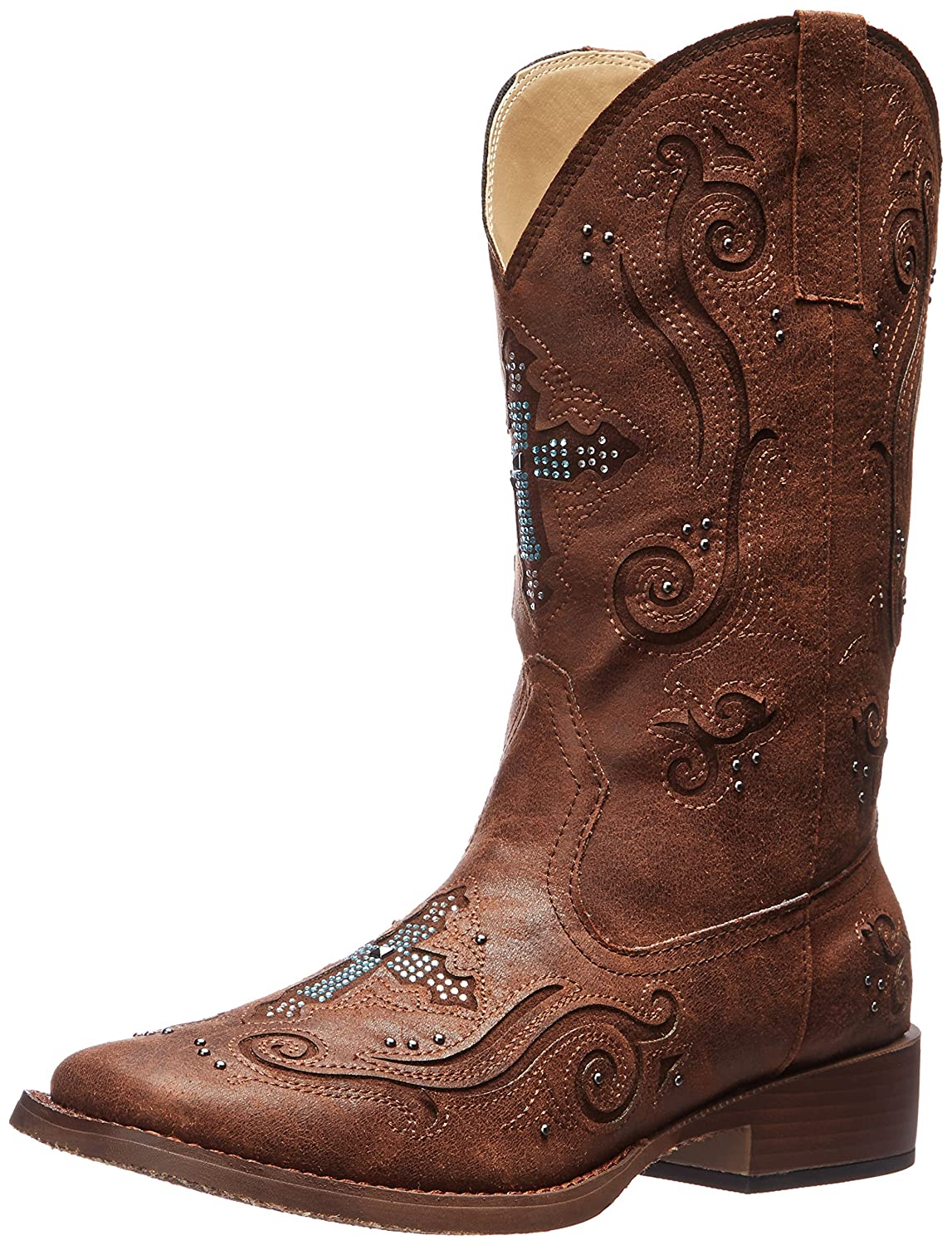 Roper Women's Crossed Out Western Boot B00JE8XQDC 6 B(M) US|Brown