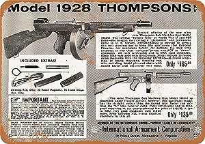 home decor Thompson Submachine Gun Model and 28AC tin metal sign