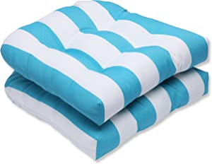 Pillow Perfect Outdoor Cabana Stripe Wicker Seat Cushion, Turquoise, Set of 2