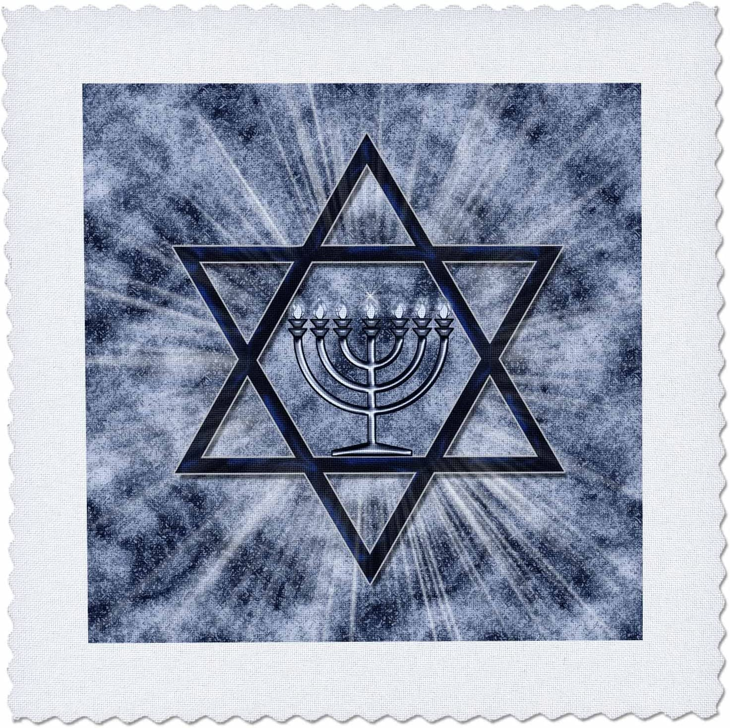 10 by 10-Inch 3dRose qs/_52283/_1 Hanukkah Menorah with Star of David in Blue Quilt Square