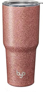 BUILT Vacuum Insulated Tumbler Double Wall, 30-Ounce, Rose Gold Glitter