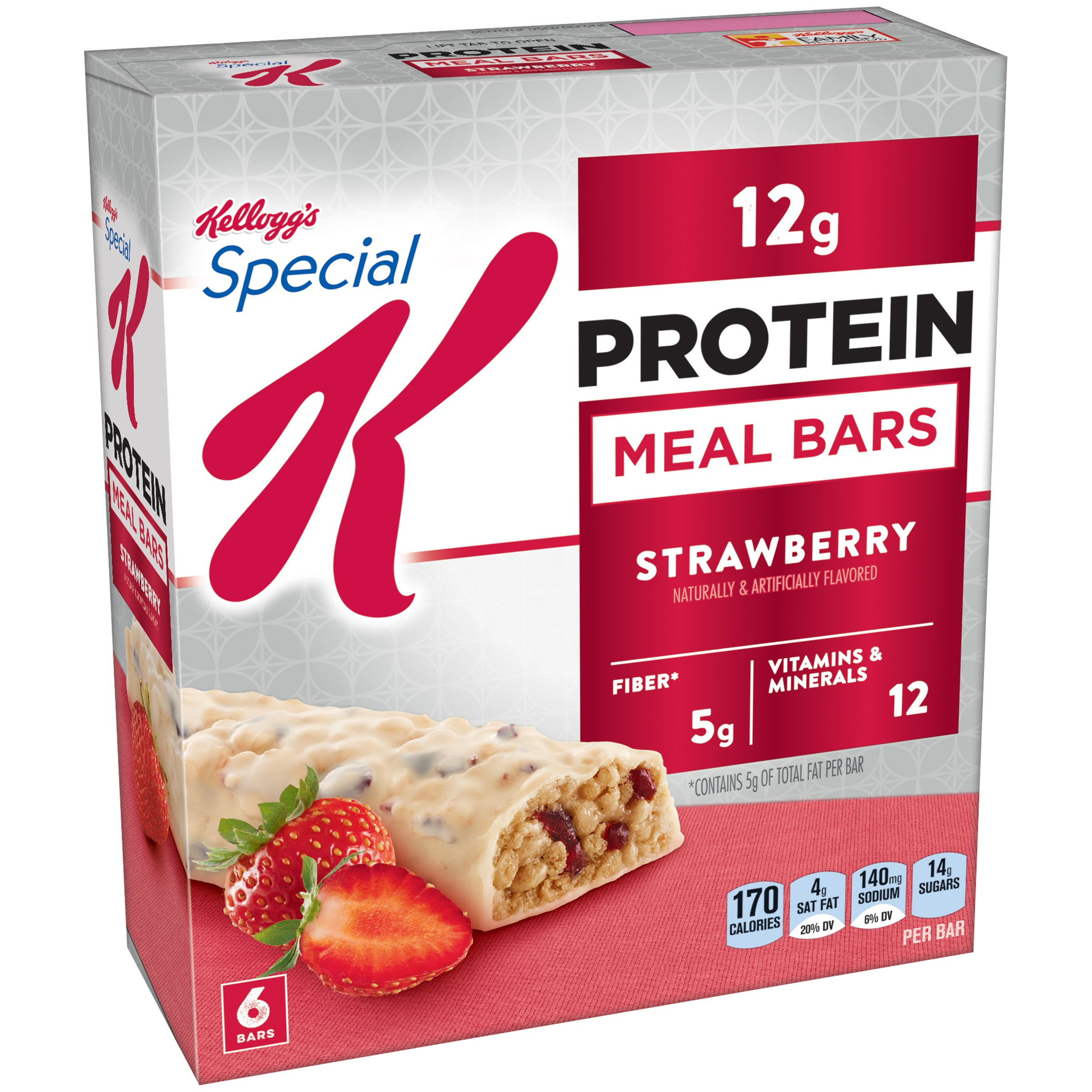 Don't have time for a sit-down meal? Reach for a Special K® Strawberry Protein Meal Bar. With protein and fiber, these bars are made with crispy, crunchy rice and pieces of strawberry-flavored fruit dipped in creamy goodness. Pretty sweet, right? Also available for purchase in single-serve packages.