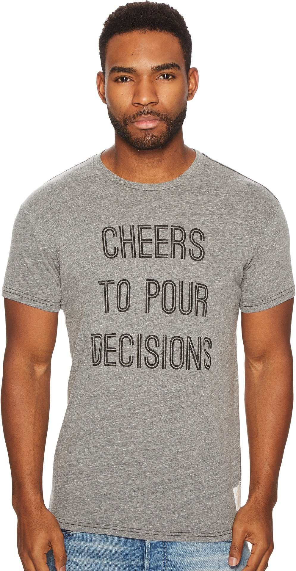Original Retro Brand The Men's Cheers to Pour Decisions Short Sleeve Tri-Blend Tee Streaky Grey X-Large