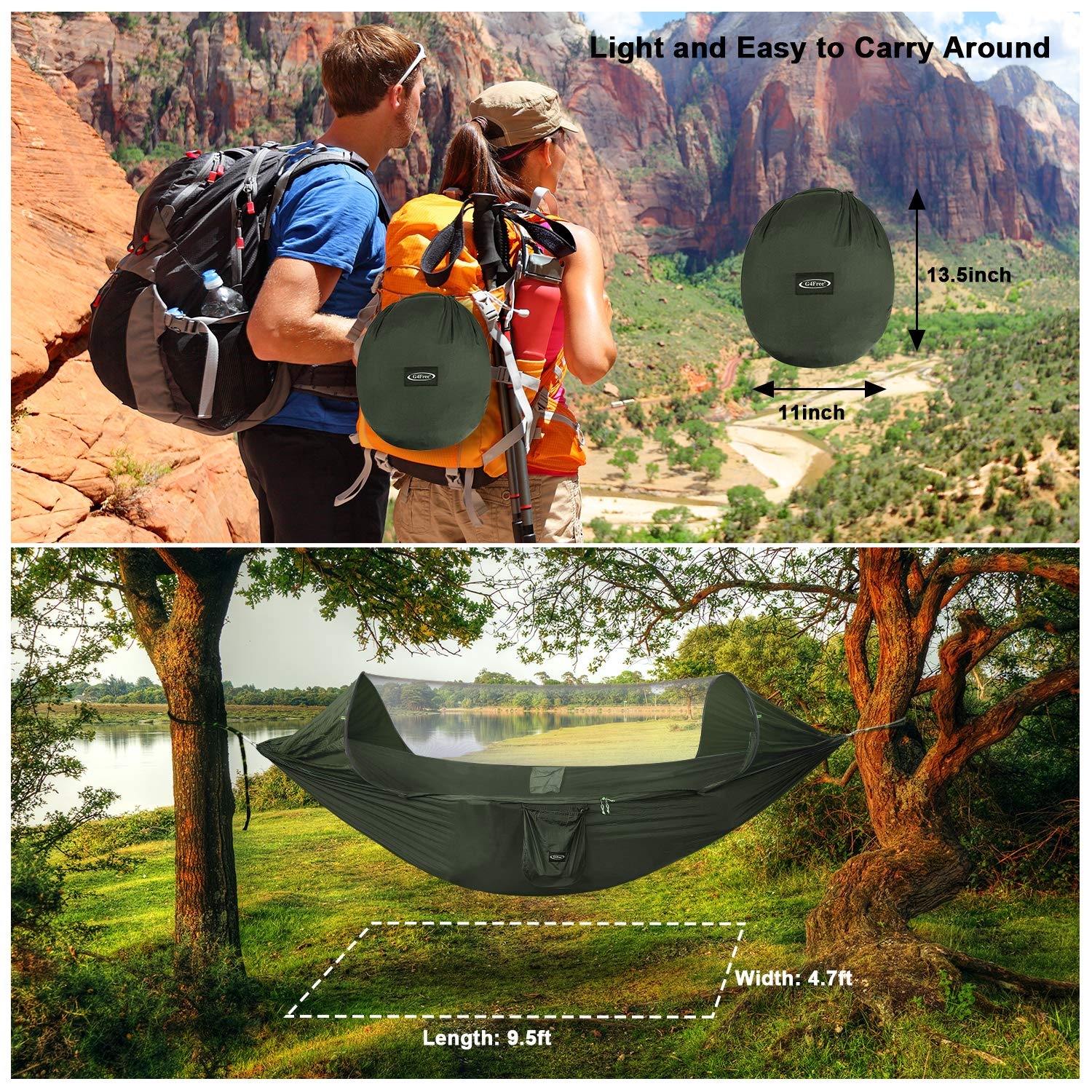G4Free Large Camping Hammock with Mosquito Net Pop-up Parachute Lightweight Hanging Hammocks Tree Straps Swing Hammock Bed for Outdoor Backpacking Backyard Hiking