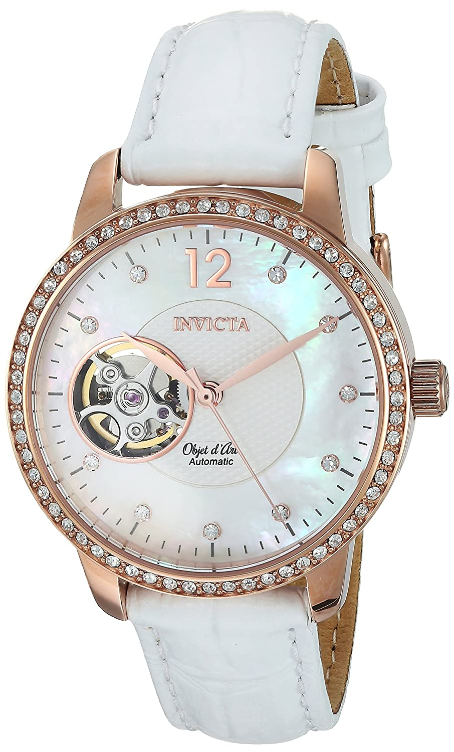 Invicta Women's 'Objet D Art' Automatic Gold and Leather Casual Watch%% Color:White (Model: 22622) B01LK6T65W