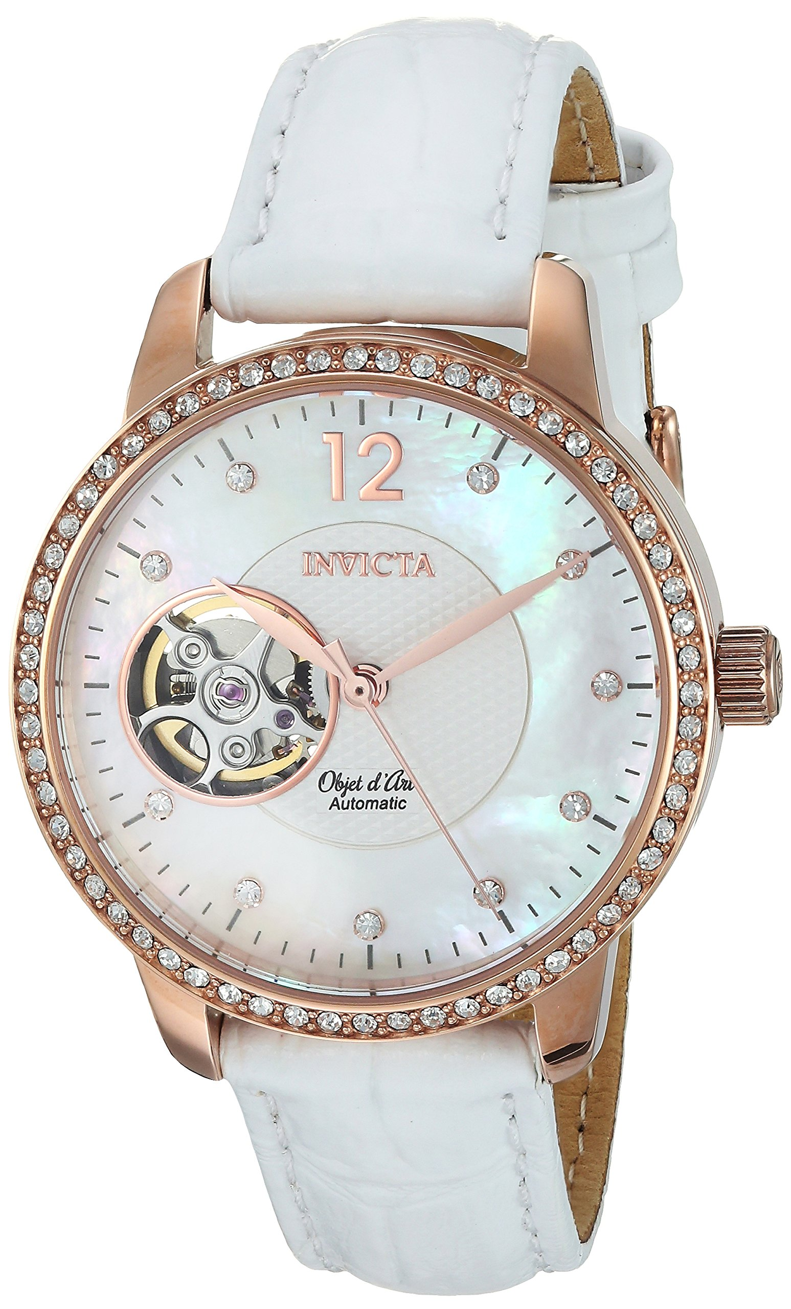 ویکالا · خرید  اصل اورجینال · خرید از آمازون · Invicta Women's Objet D Art Gold Automatic-self-Wind Watch with Leather Calfskin Strap, White, 15 (Model: 22622) wekala · ویکالا