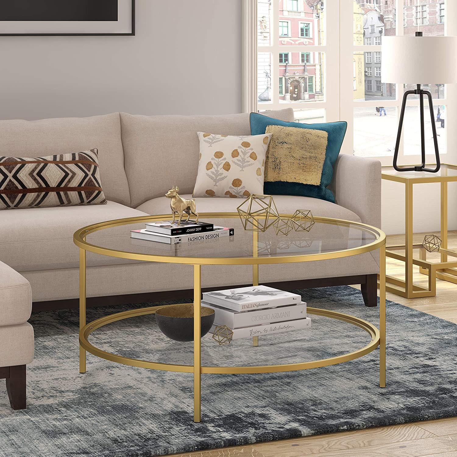 Henn&Hart Round coffee table, Gold