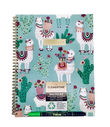 Clementine July 2019 - June 2020 Spiral Plastic Cover Weekly/Monthly Planner and Twin Fluorescent Pen (Llama)
