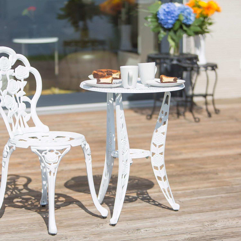 Bianco Relaxdays 10020098/_49 Tavolo da Giardino Stile Antico in Alluminio 50x50x64 cm