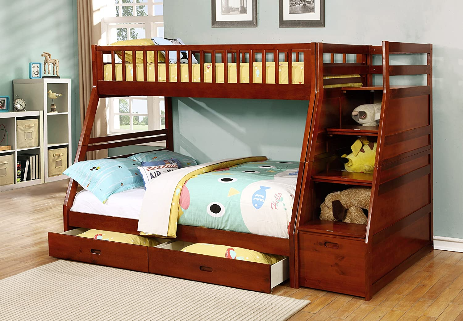 Amazon.com: Twin/Full Storage Step Bunk Bed With 2 Drawers (Walnut):  Kitchen U0026 Dining