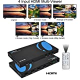 Orei HDMI Multi-Viewer 4x1 Seamless HDMI Switch by OREI - 4 Ports, IR Remote, RS-232 Control, Supports up to 1080p, Security Camera, HDMI Switch 4 in 1 Out (HD-401MR)