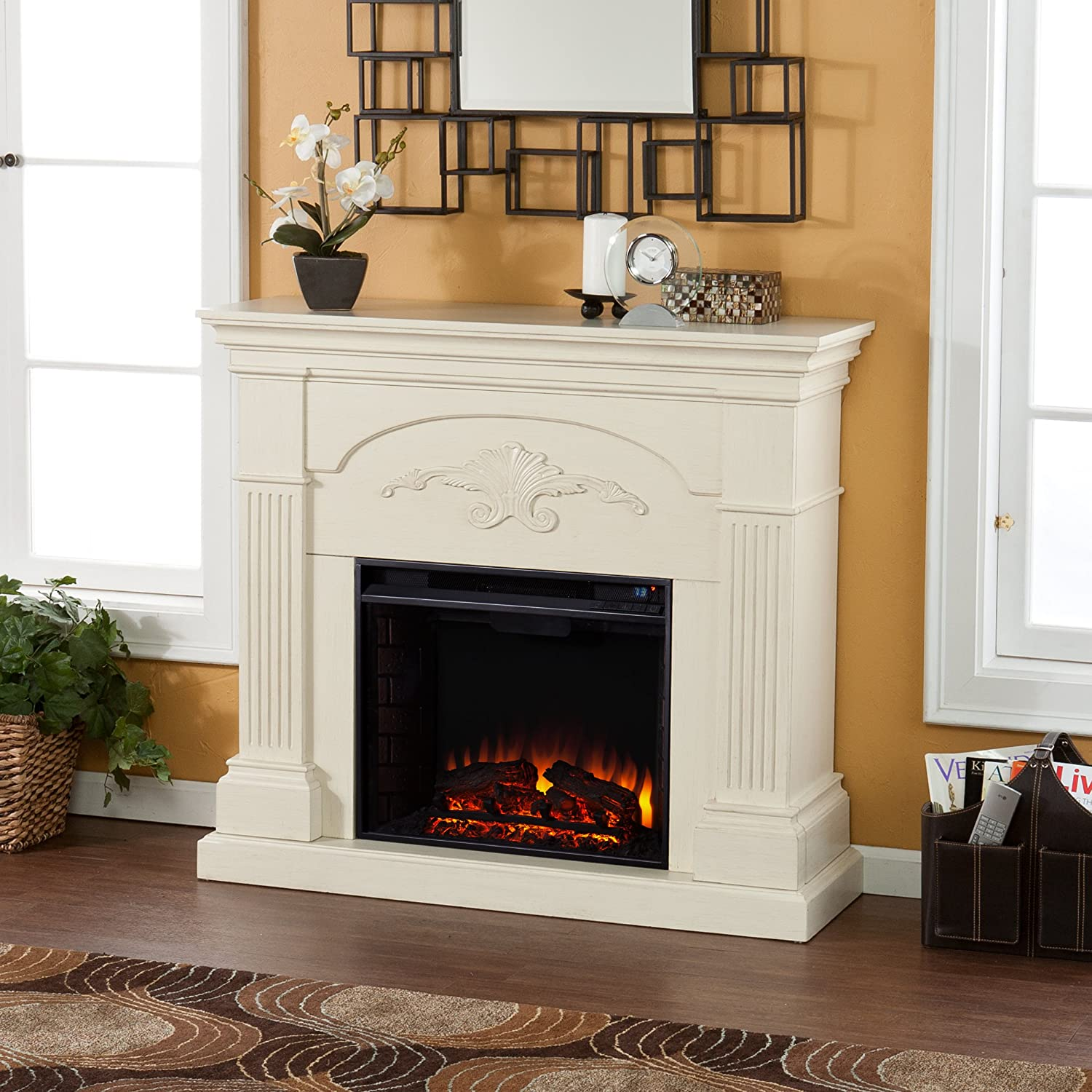 Amazon.com: Sicilian Harvest Electric Fireplace - Ivory: Kitchen & Dining