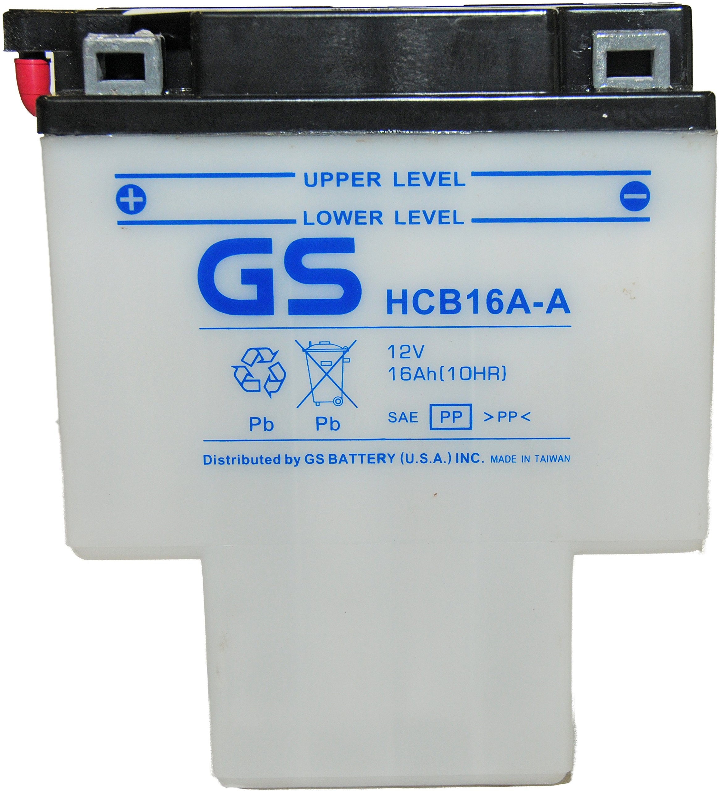 HCB16A-A with Acid Pack by GS BATTERY, a subsidiary of GS YUASA; The World's Leading Manufacturer of Powersports Batteries