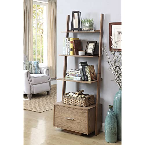 Convenience Concepts American Heritage Ladder Bookcase With File Drawer Driftwood