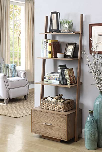 79cfdba653 Image Unavailable. Image not available for. Color: Convenience Concepts  American Heritage Ladder Bookcase with File Drawer, Driftwood