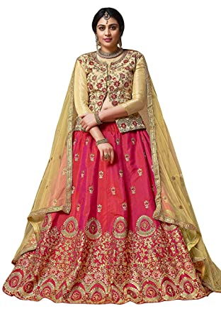 7ce843908ab Maroosh Silk Women s Embroidered Lehenga Choli In Pink Color  Amazon ...