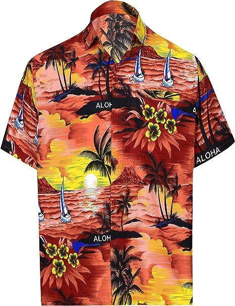 LA LEELA Shirt Casual Button Down Short Sleeve Beach Shirt Men Aloha Pocket 1