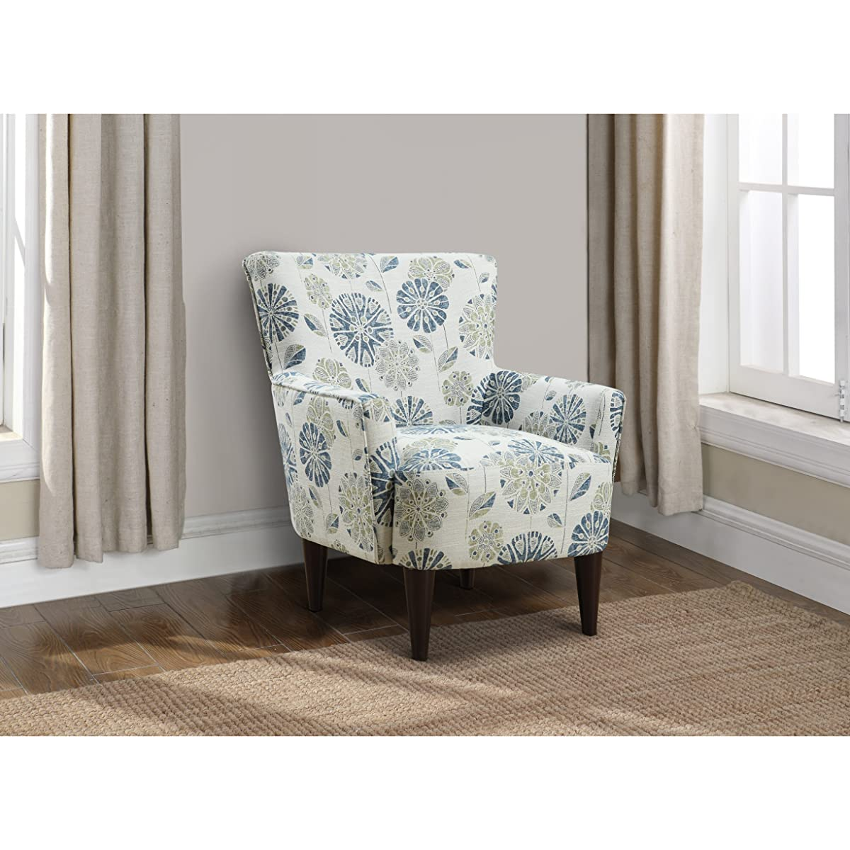 Emerald Home Flower Power Cascade Teal Accent Chair with Flared Arms And Welt Trim
