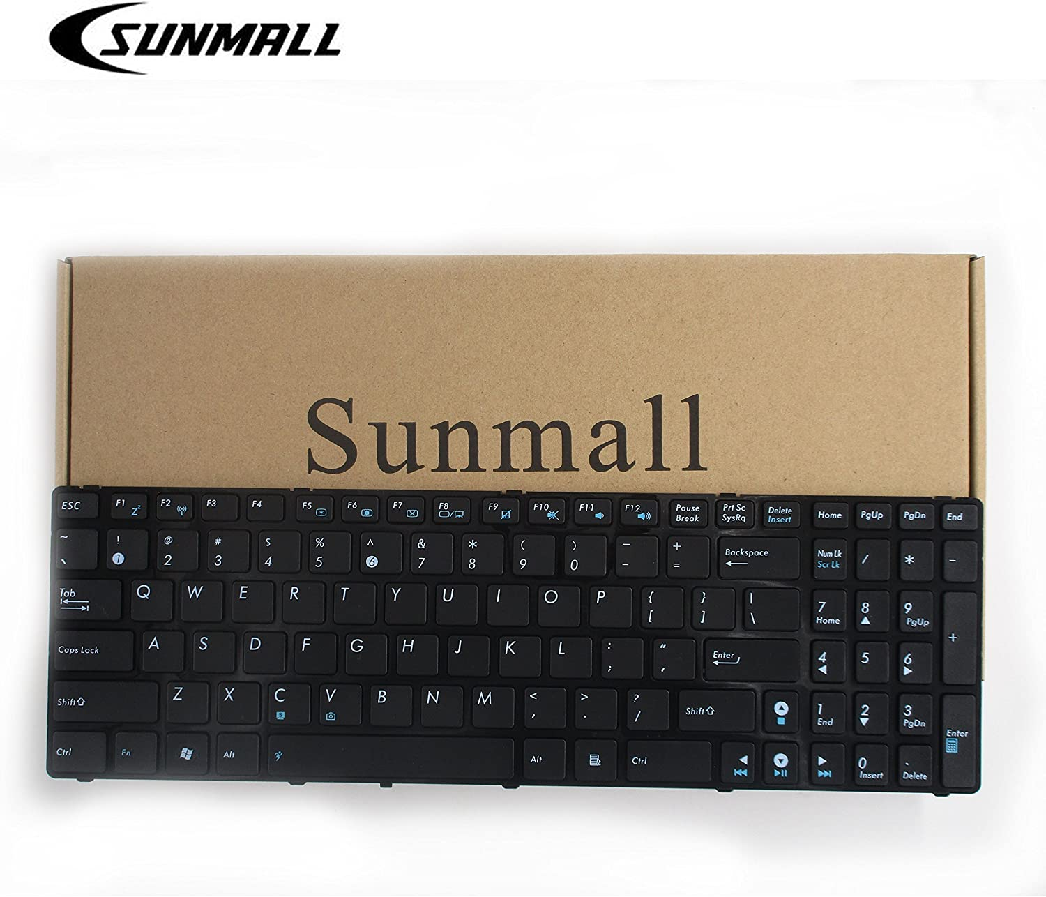 SUNMALL Keyboard Replacement Without Backlit Compatible with A52 F50 X53E A53S K53 K53S K54 G73S X73E Series Laptop Black US Layout