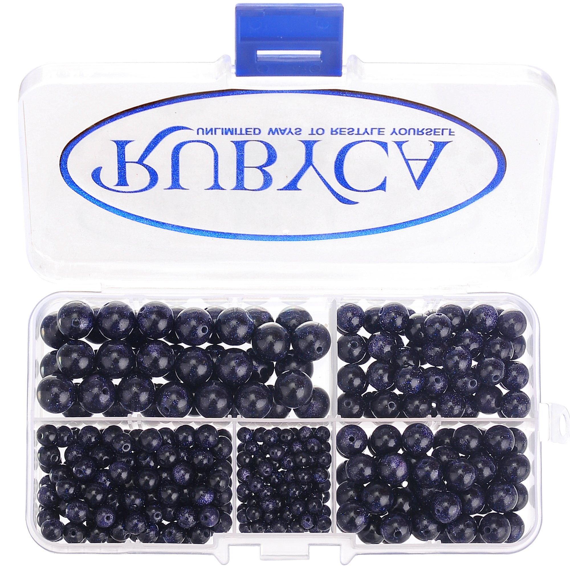 RUBYCA Blue Sand Man-made Glass Gemstone Round Loose Bead Organizer Plastic Box Jewelry Making Mix Sizes