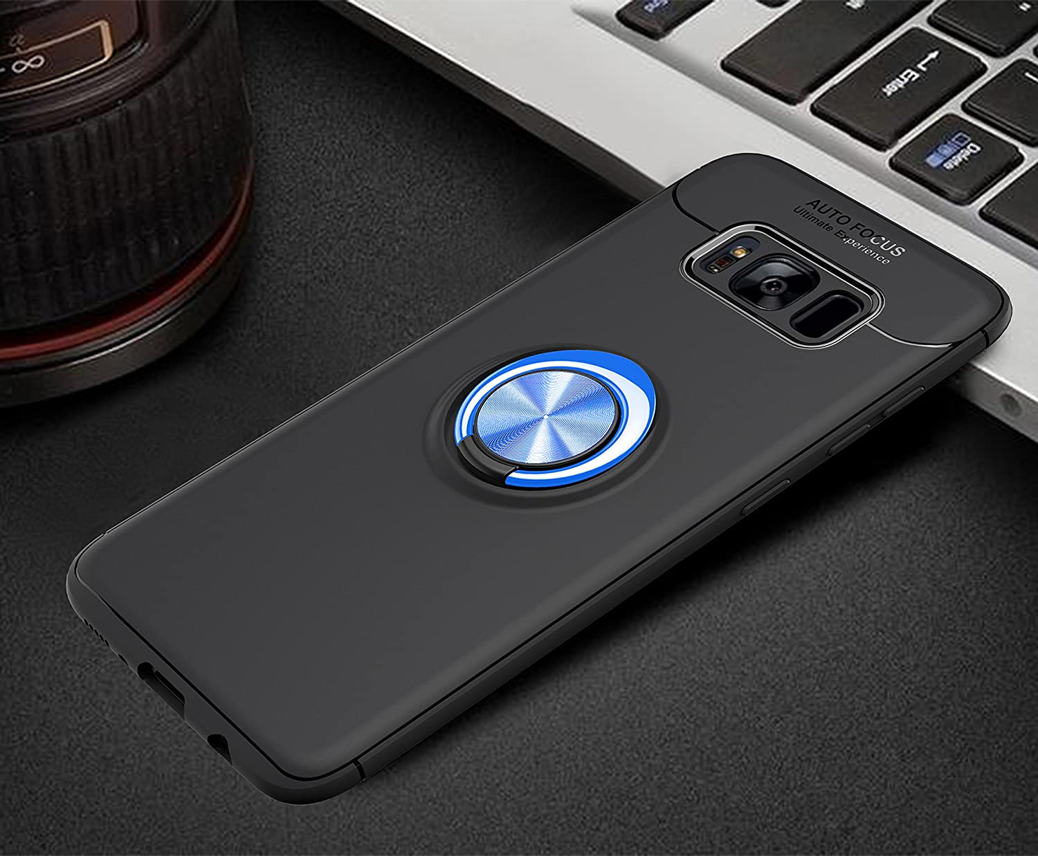 Thin Soft Full Protective 360 Degree Rotating Ring Kickstand Cover with Magnetic Car Mount for Galaxy S8 Plus Avalri Samsung Galaxy S8 Plus Case Black-Blue