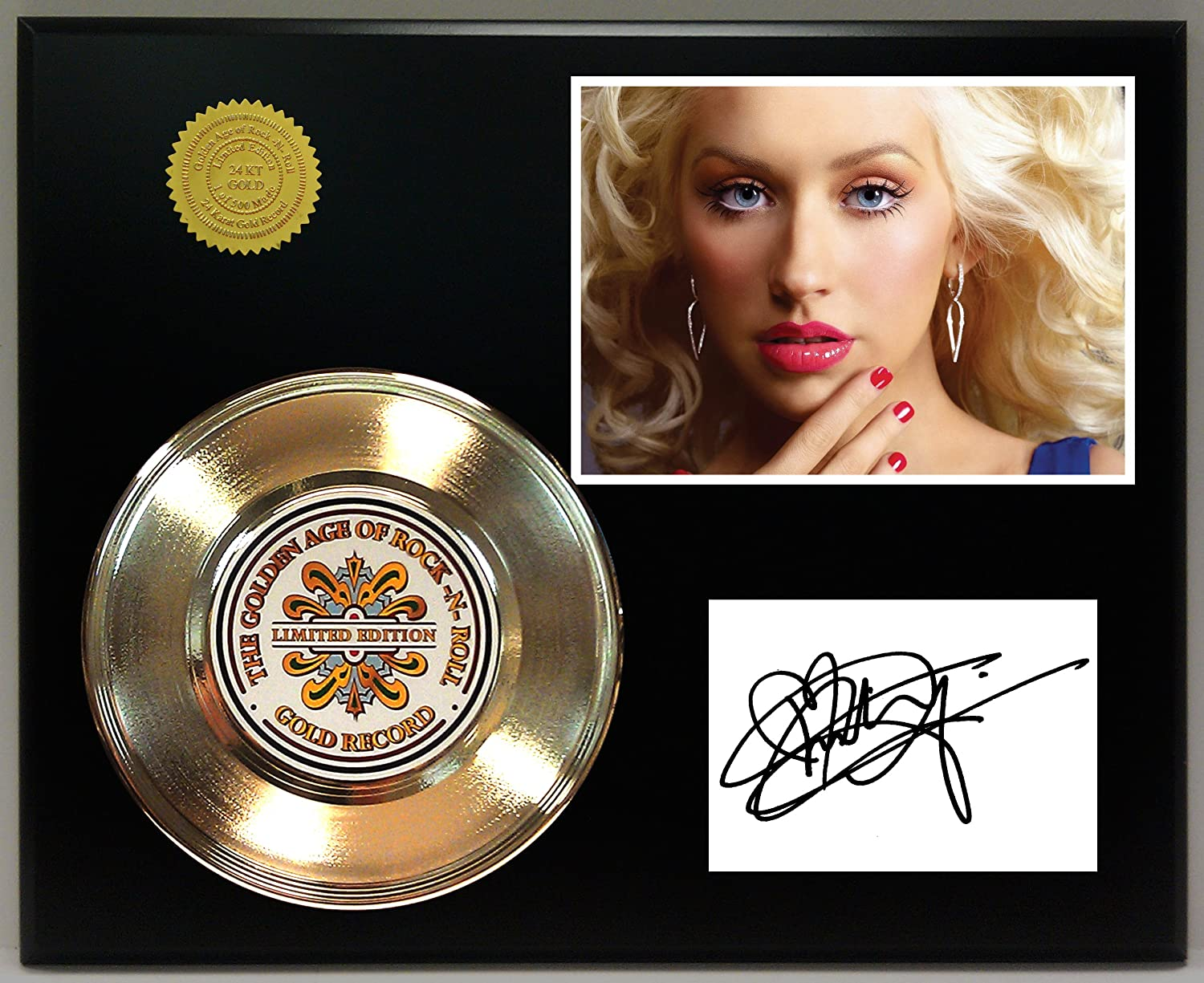 Christine Aguilera Gold Record Signature Series LTD Edition Display Gold Record Outlet
