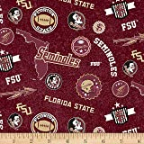 NCAA Florida State Seminoles Home State Maroon/Gold/Black/White Quilt Fabric By The Yard