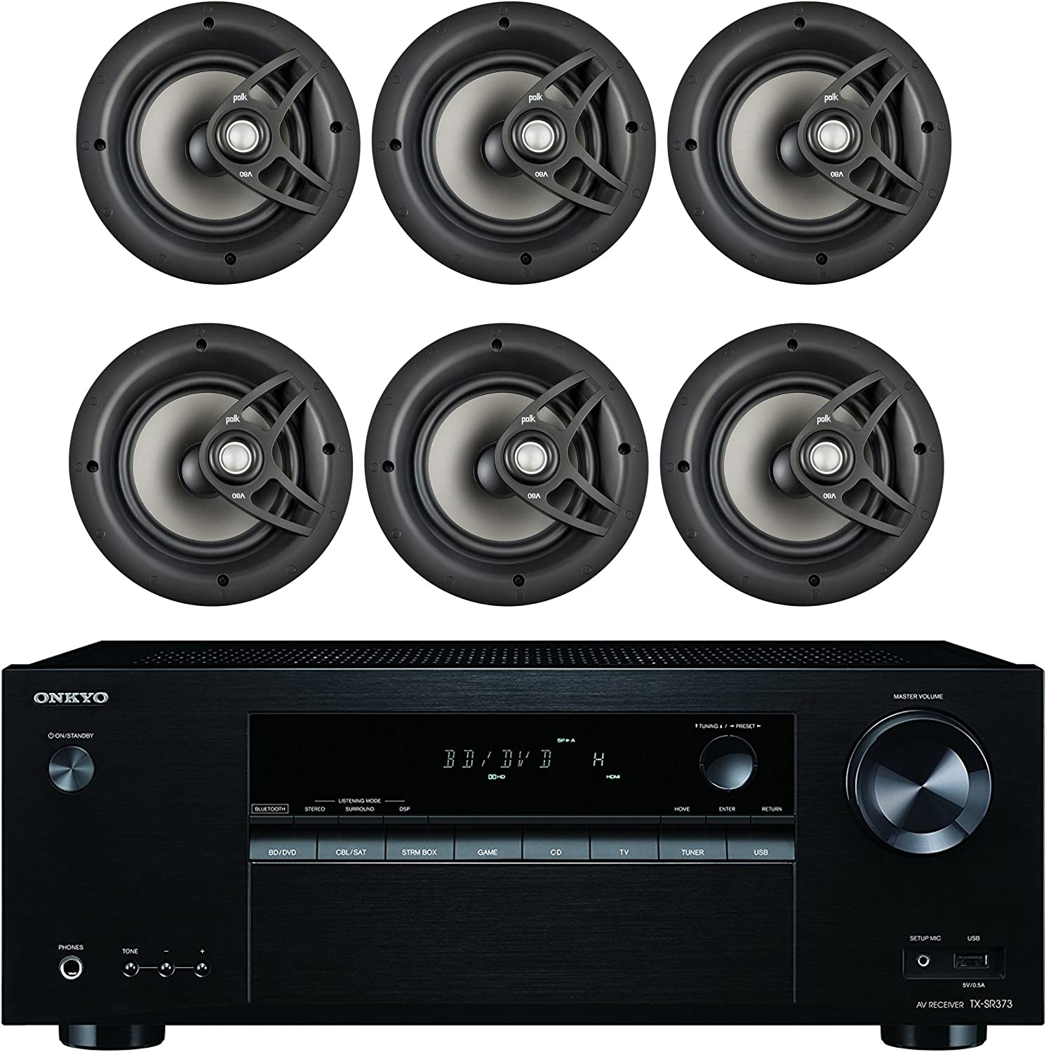 "Onkyo 5.2 Channel Full 4K Bluetooth AV Home Theater Receiver + Polk 8"" 2 Way High-Performance Natural Surround Sound in-Ceiling Speaker System (Set of 6)"