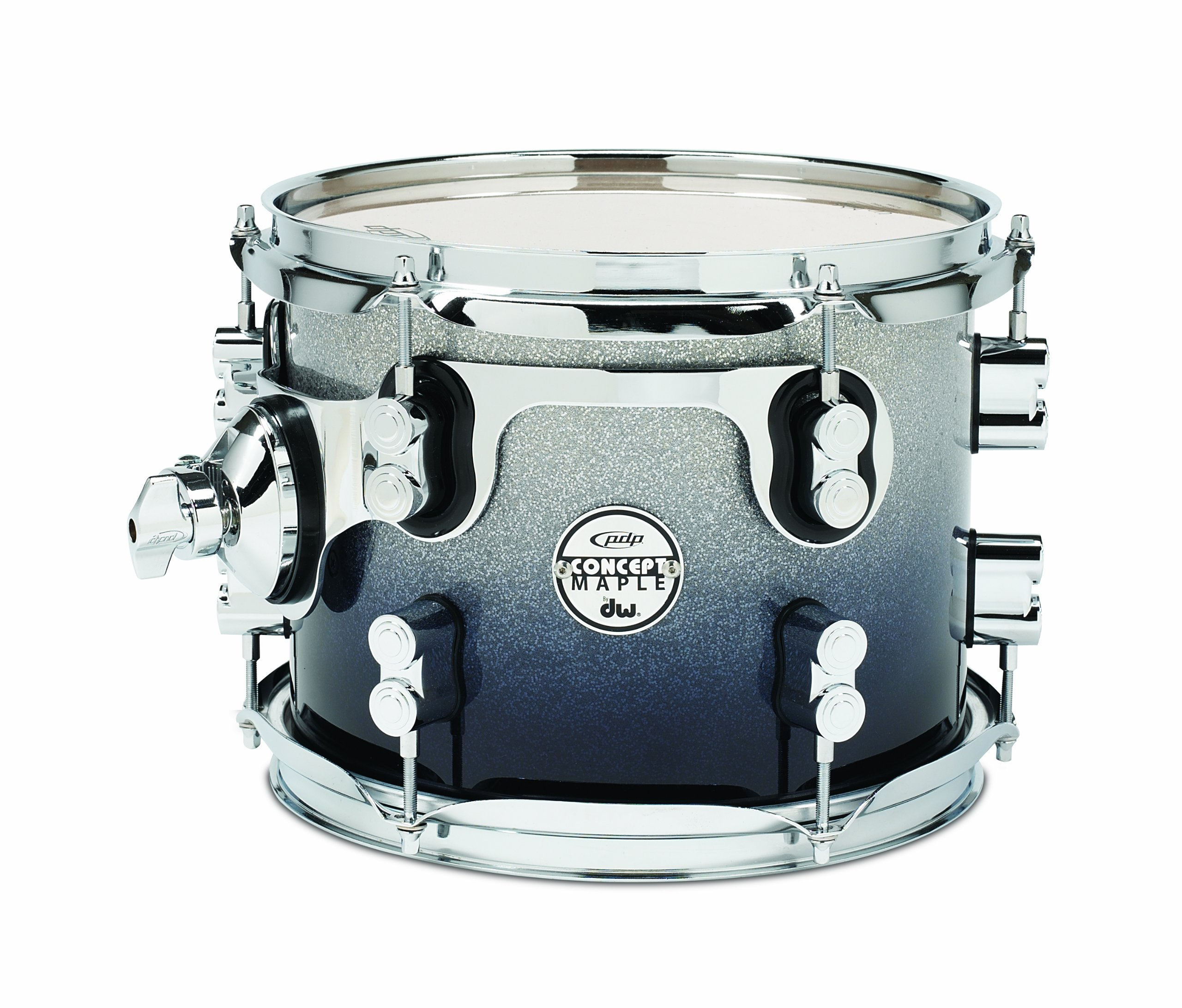Pacific Drums PDCM0810STSB 8 x 10 Inches Tom with Chrome Hardware - Silver to Black Fade by Pacific Drums