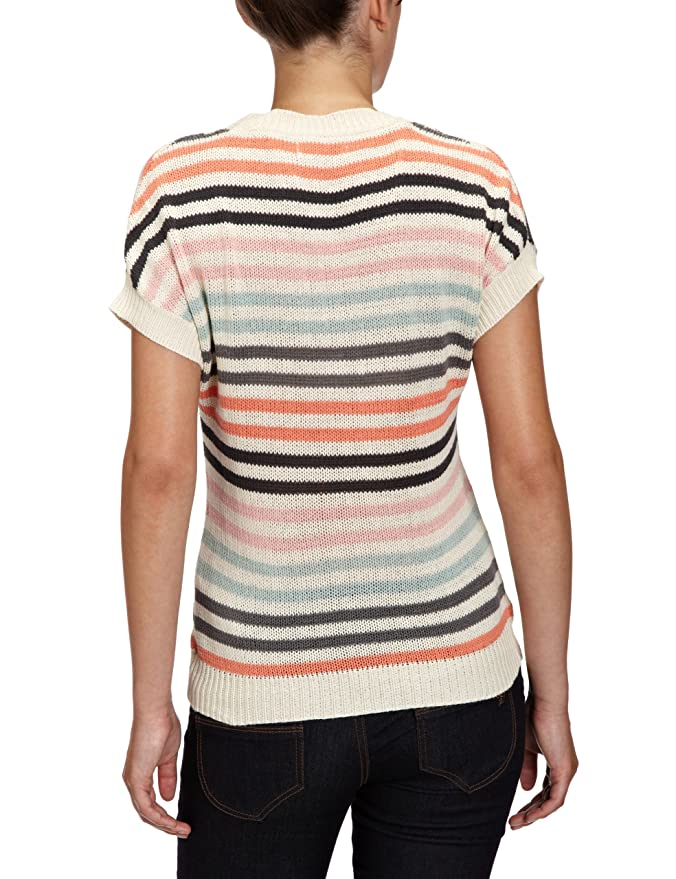 ONLY Damen Top, 15065233 VECTRA S/S KNIT TOP, Gr. 36 (S), Mehrfarbig (WHITE  SWANStripes:W. FUSION CORAL/SMOKED PEARL/HARBOUR GREY/POWDER PINK/EBONY):  ...