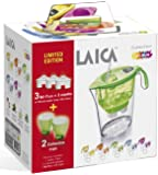 Laica Kit J947E Caraffa Stream Line Plastica, 2.3 L, Verde/Trasparente, con 2 bicchieri e 3 cartucce filtranti Bi-Flux